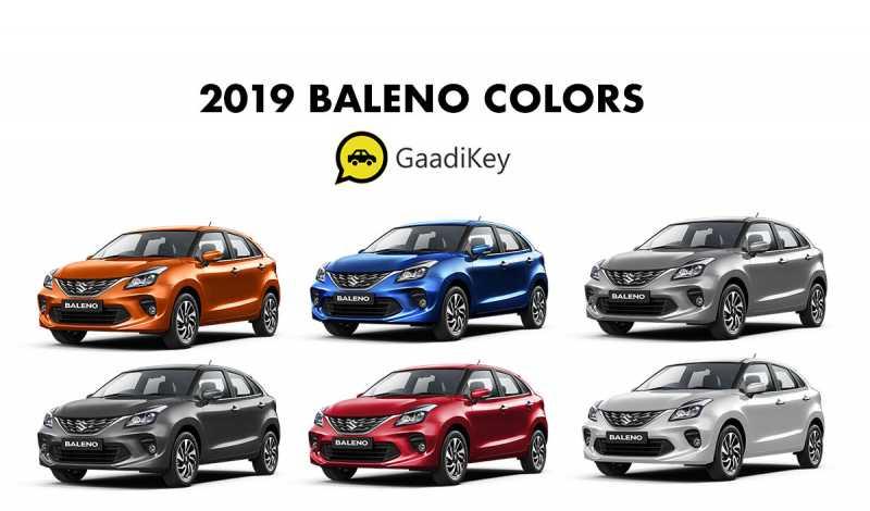 2019 Baleno Colors: Blue, Red, Silver, Grey, Orange, White