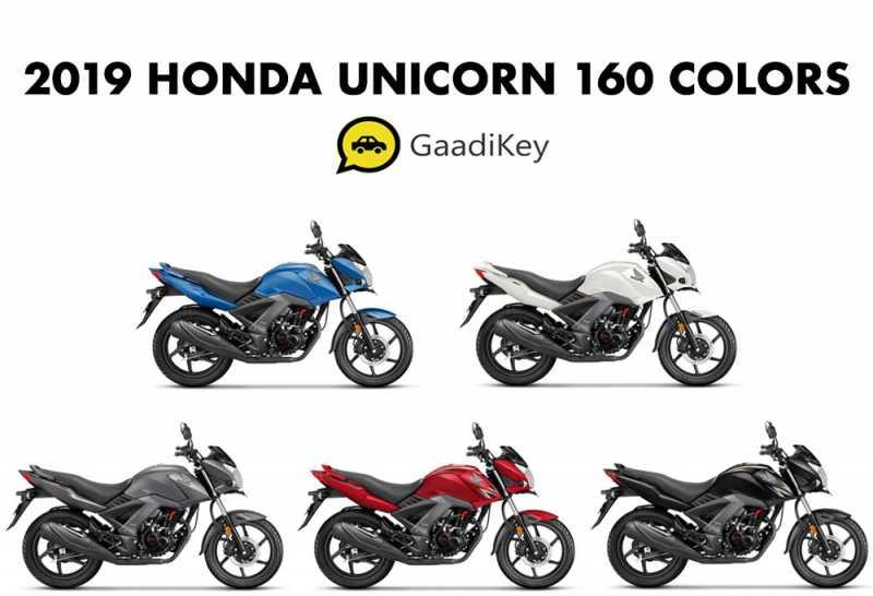 2019 Honda Unicorn 160 Colors- Black, Red, White, Grey, Blue