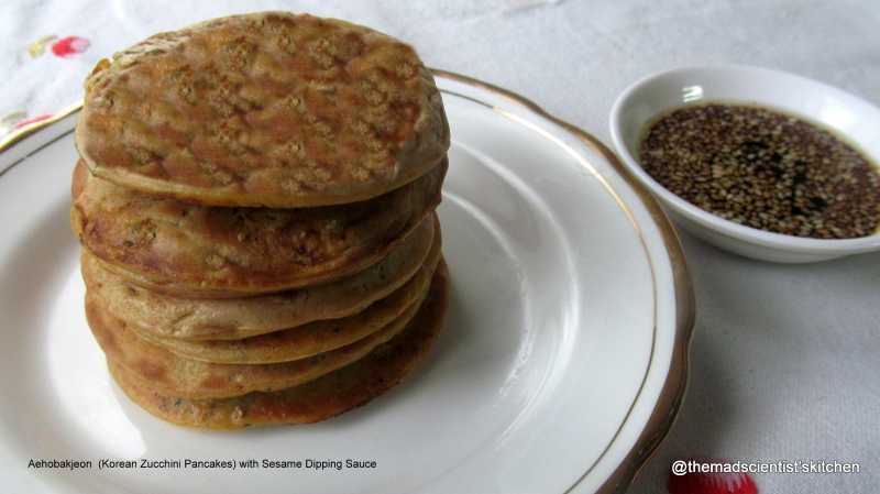 Aehobakjeon  (Korean Zucchini Pancakes) With Sesame Dipping Sauce