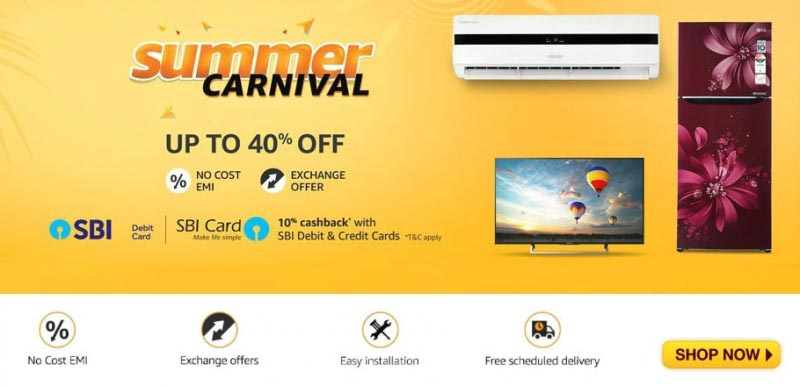 Amazon Summer Sale Begin From 07 April To 10 April (Extra 10% Cashback With SBI Cards)