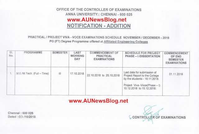 Madhu Mathi Blogs Anna University Practical Exam Schedule For PG Nov