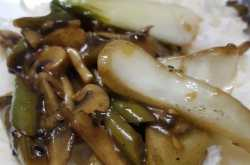 Bok choy and Mushroom Stir Fry with steamed rice