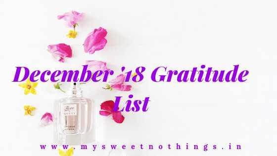 December 2018 Gratitude List - #GratitudecircleBloghop
