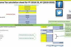 """download excel based - income tax calculator for fy 2018-19 """"ay 2019-20"""" - financial control"""
