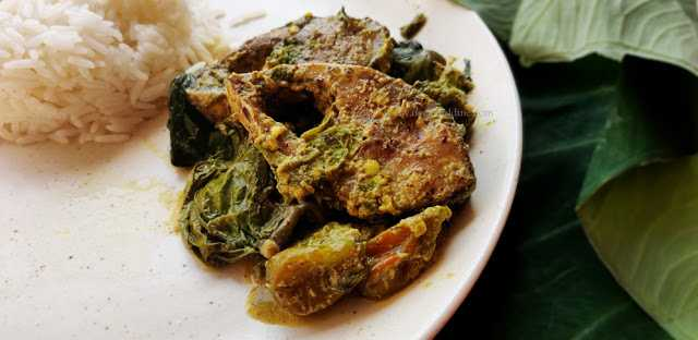 Dudhman Kochu Pata Diye Ilish Bhapa (Hilsa Fish Steam Cooked In Colossia / Taro Leaves): Recipe With Step By Step Pictures