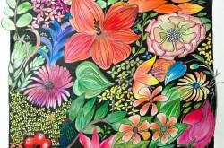 floral illustrations | pencil coloring | artwork