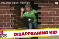 kid disappears in brick wall prank - funny kid - boy