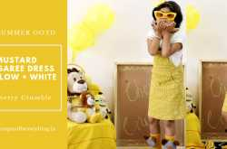 Kids Summer OOTD: Mustard Dungaree Dress + Yellow + White - Cherry Crumble - Makeup Review And Beauty Blog
