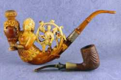 Meerschaum :Vintage Pipe finely carved & nicely painted