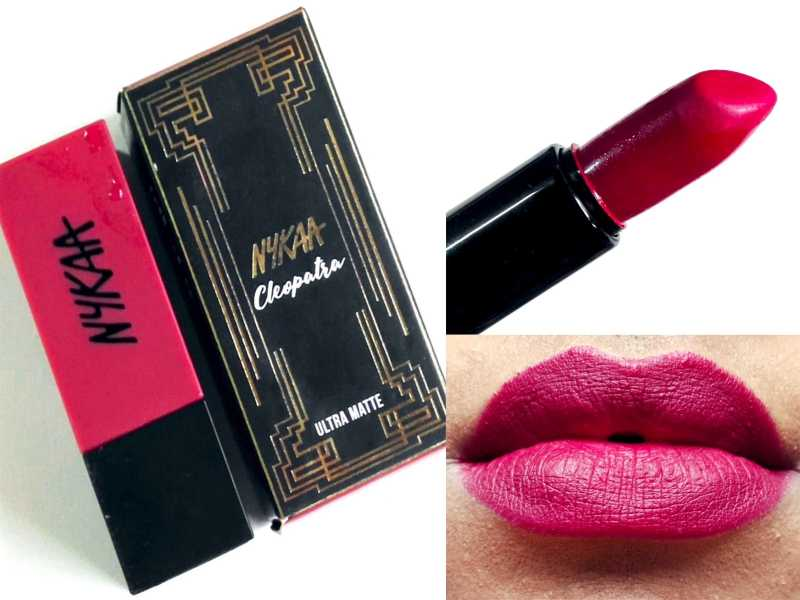 Nykaa Ultra Matte Lipstick Cleopatra 08 Review, Swatches