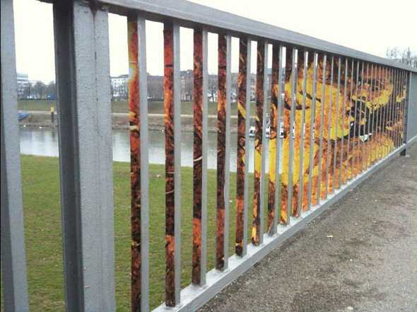 Outdoor Illusion Painted On The Barred-fence By Zebrating-Art