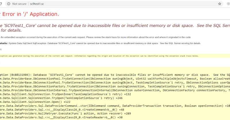 Sitecore Error Troubleshooting: Database