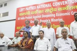 CPI General Secretary Dipankar Bhattacharya, CPI-M General Secretary Sitaram Yechury And CPI General Secretary D. Raja During A Left Parties National Convention On 'All India Protest Against Deepening Economic Crisis | SaveDelete