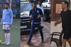 Photos: Ranbir Kapoor, Abhishek Bachchan and MS Dhoni play their usual Sunday football in Mumbai